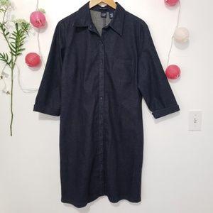 GAP stretch button down dark wash dress
